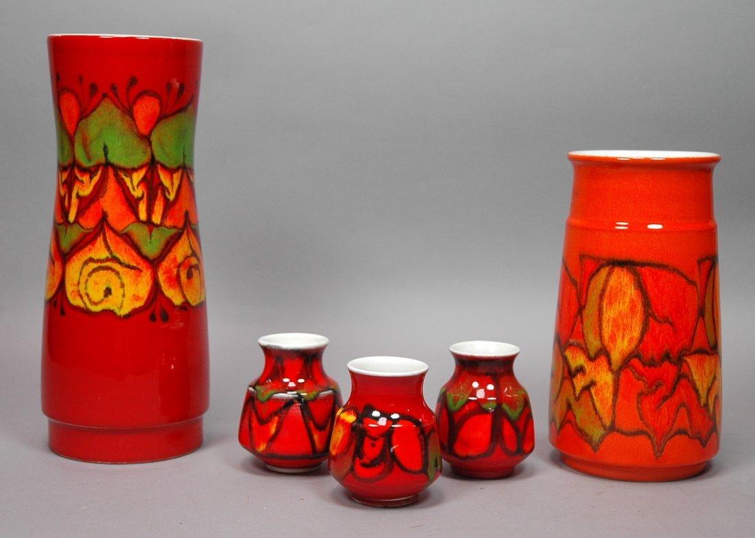 5 pc POOLE England Pottery Vase Lot. Five assorte