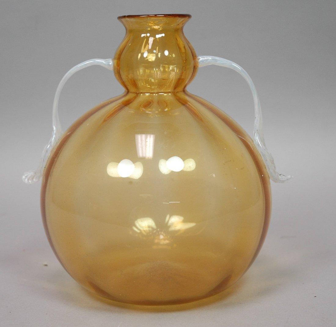 Italian Art Glass Yellow Vase. M V Cappellin