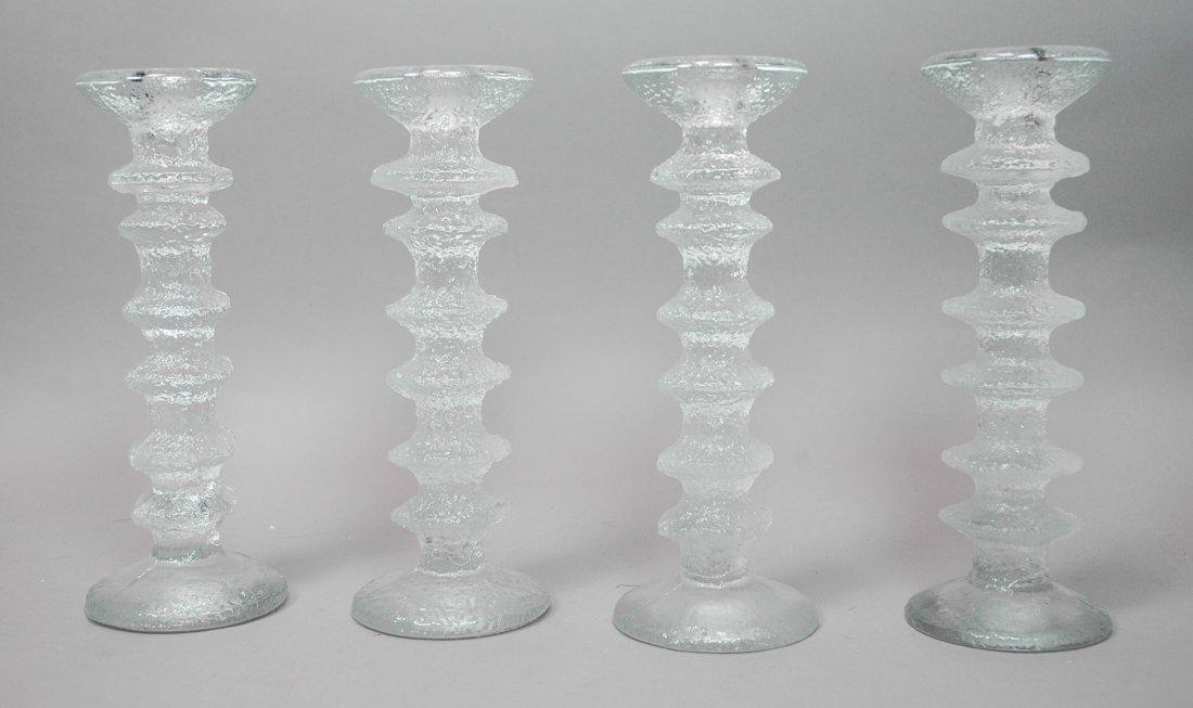 Set of 4 TAPIO WIRKKALA Ice Glass Candlesticks. T