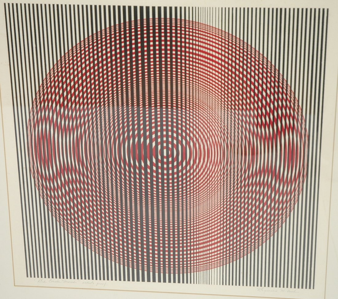 Red Circle Moire Op Art Print. REGINALD H NEAL.
