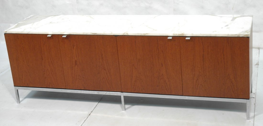 KNOLL Marble Top Walnut Credenza. Square chrome b