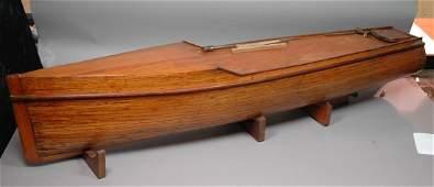 Vintage Wood Pond Boat on Stand
