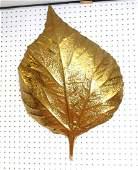 Tommaso Barbi Hammered Brass Leaf Form Wall Sconce.