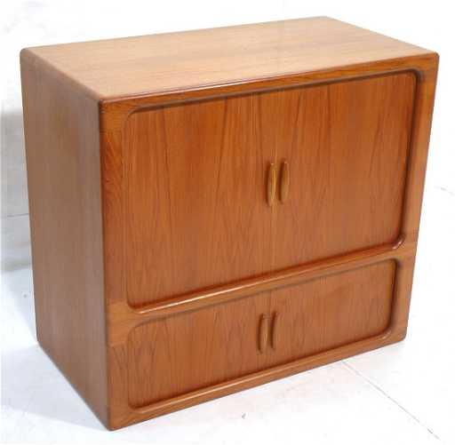 Dyrlund Teak Four Tambour Door Cabinet Danish Modern