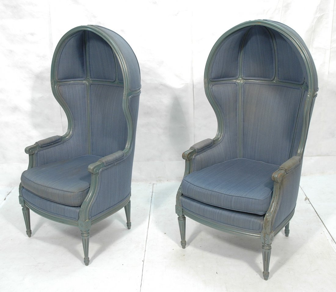 Pr Carved French Hooded Lounge Chairs. Carved woo