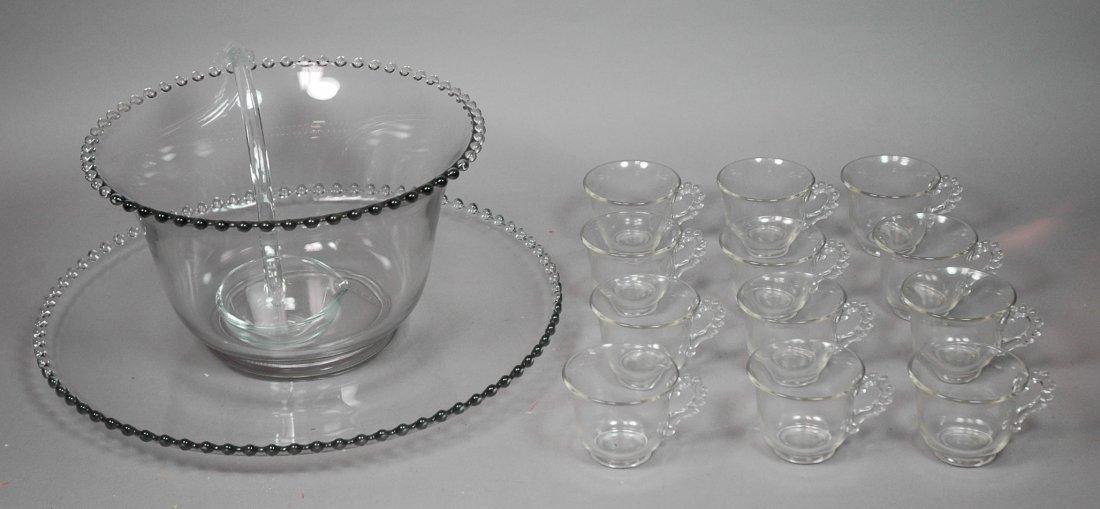 Candlewick Punch Bowl Set. Bowl, Ladle, Tray & 12