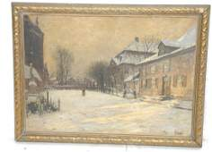 OLAF JERNBERG Oil Painting. Winter Scene with Bui