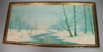 RAPHAEL SENSEMAN Watercolor Winter Landscape NJ