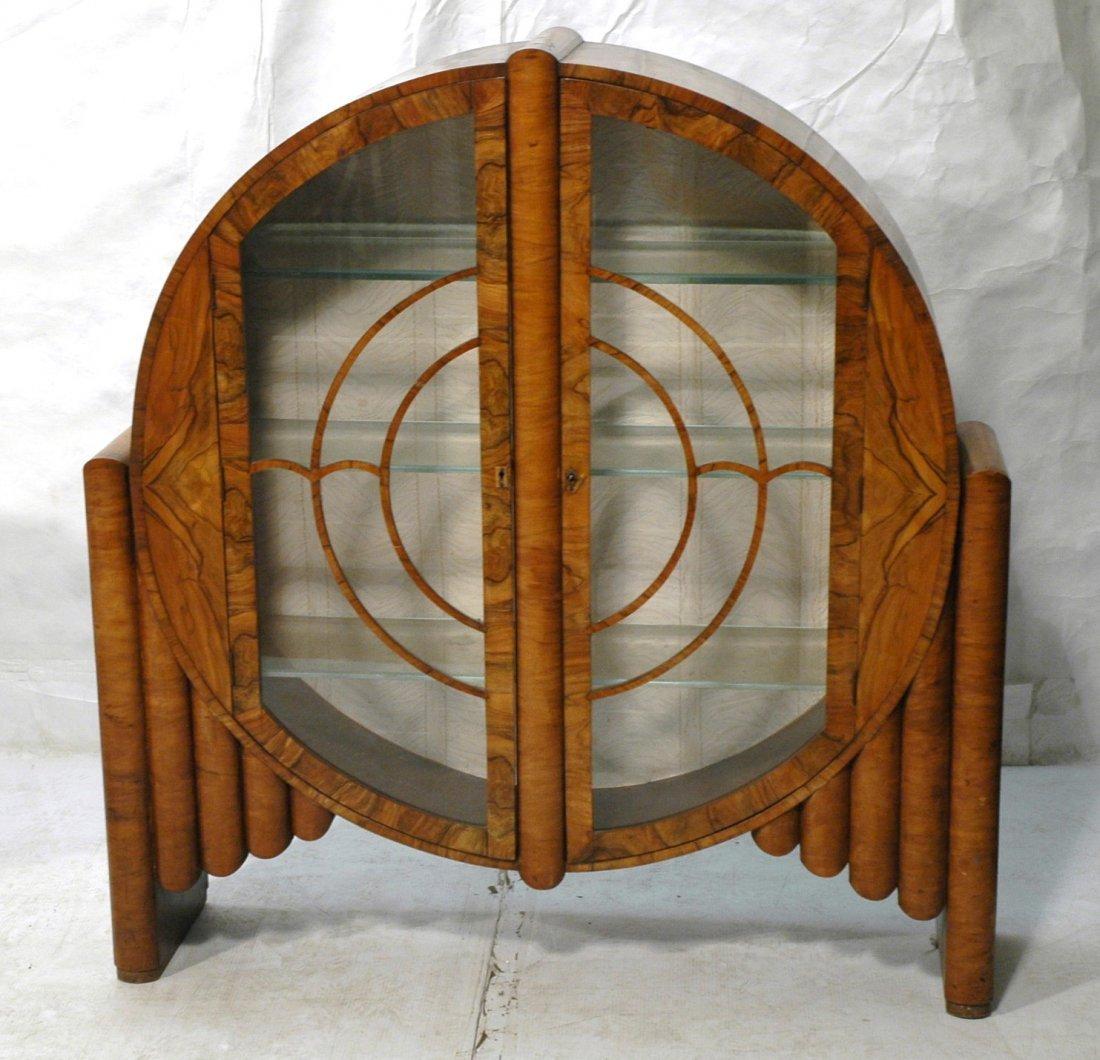 Art Deco Bar Cabinet. Burled Wood Round Cabinet.