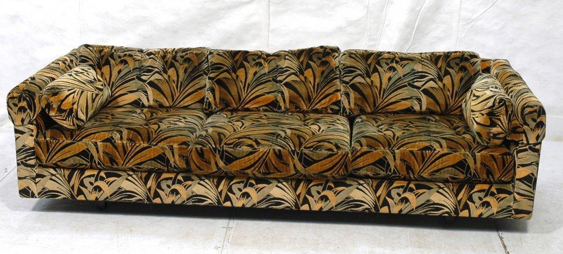 70's Modern Wild Print Velour Sofa Couch. Wood sq