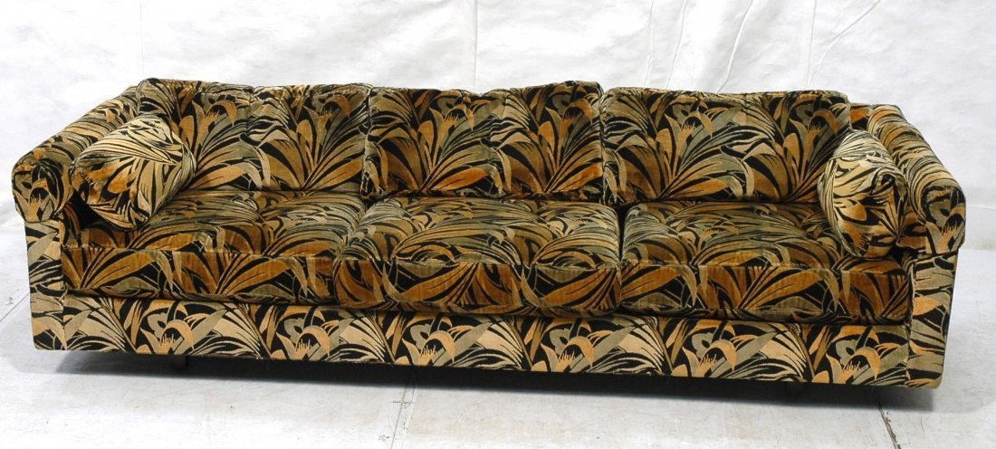 70 39 s modern wild print velour sofa couch wood sq for 70s wooden couch
