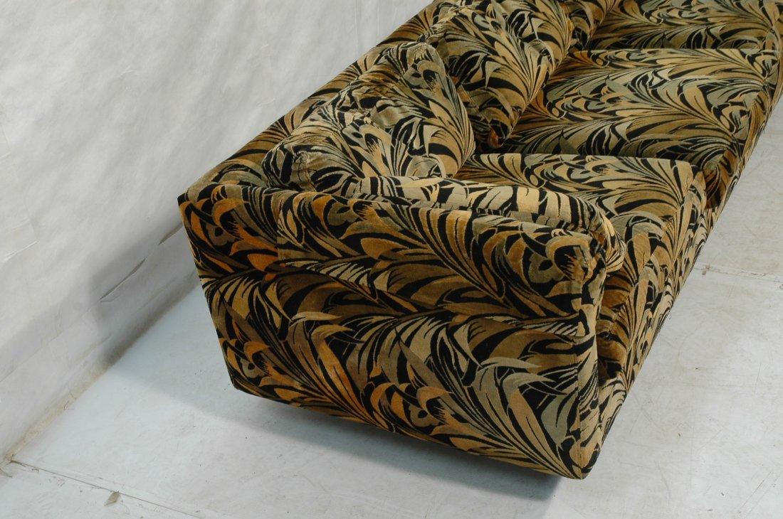 70's Modern Wild Print Velour Sofa Couch. Wood sq - 2