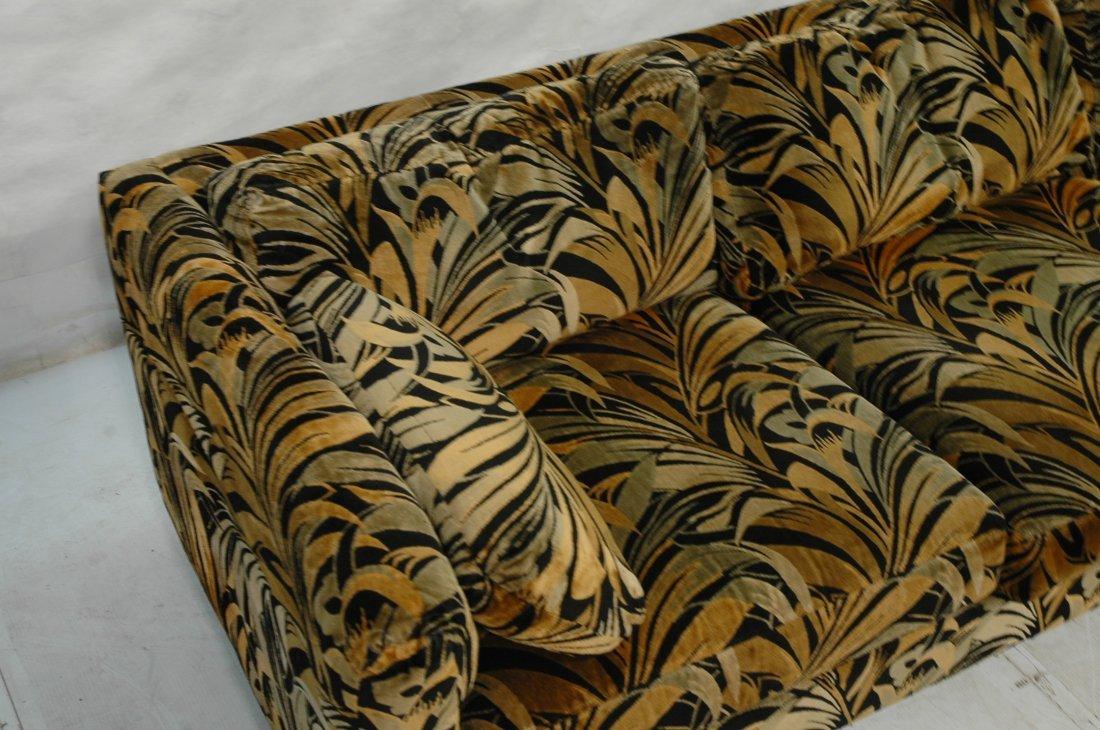 70's Modern Wild Print Velour Sofa Couch. Wood sq - 3