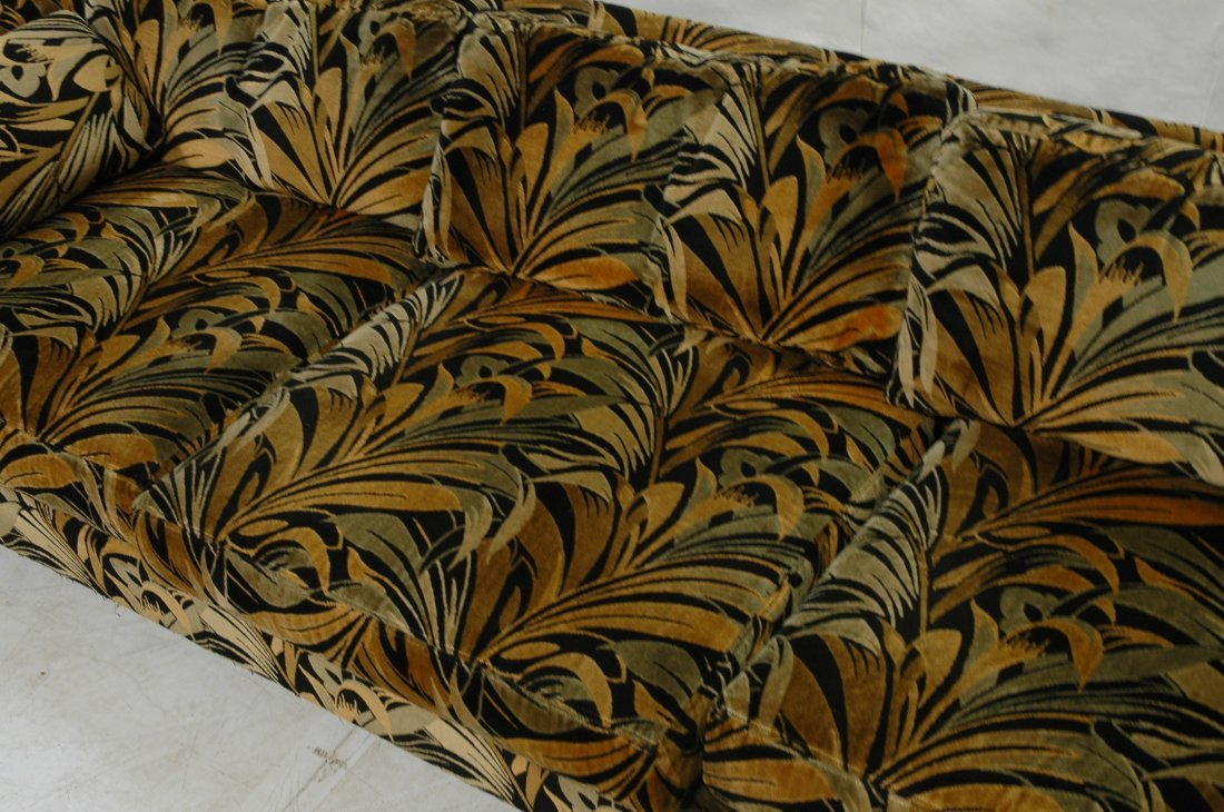 70's Modern Wild Print Velour Sofa Couch. Wood sq - 4