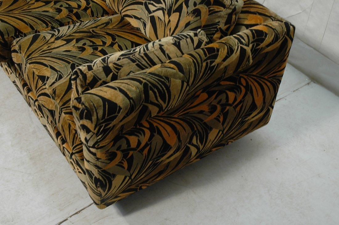70's Modern Wild Print Velour Sofa Couch. Wood sq - 5