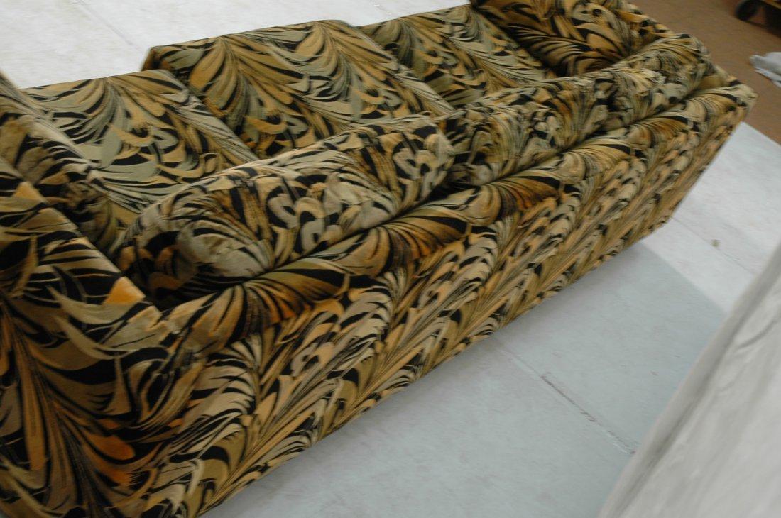 70's Modern Wild Print Velour Sofa Couch. Wood sq - 6