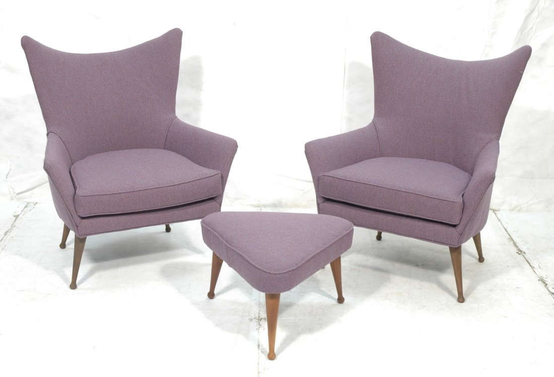 3pcs. Decorator Lounge Chairs and Triangle Ottoma