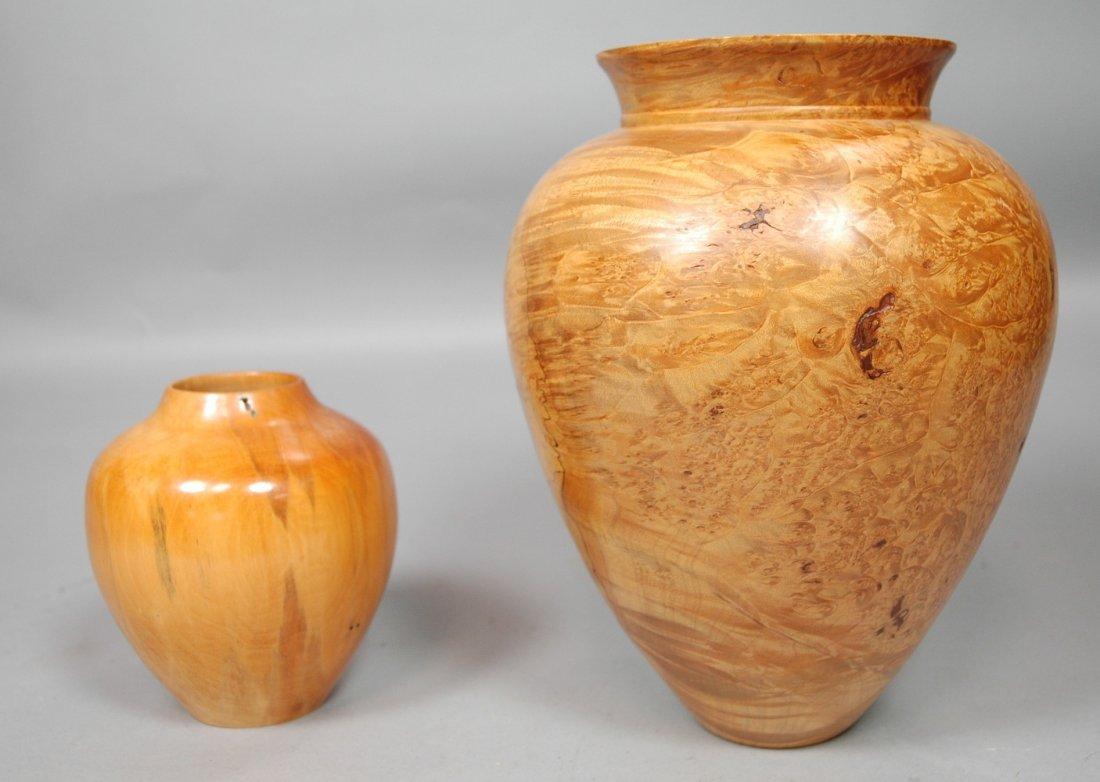 2pcs Studio Woodworker Vases.  Phil Pratt splatte