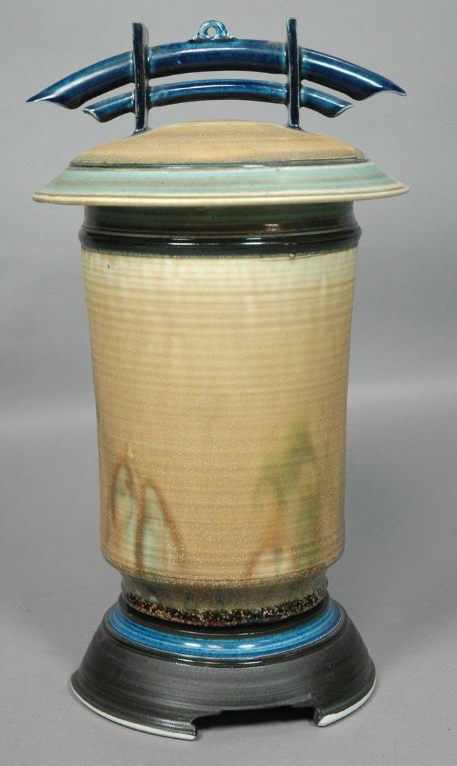 Studio Pottery Glazed Covered Pot Vase. Asian ins