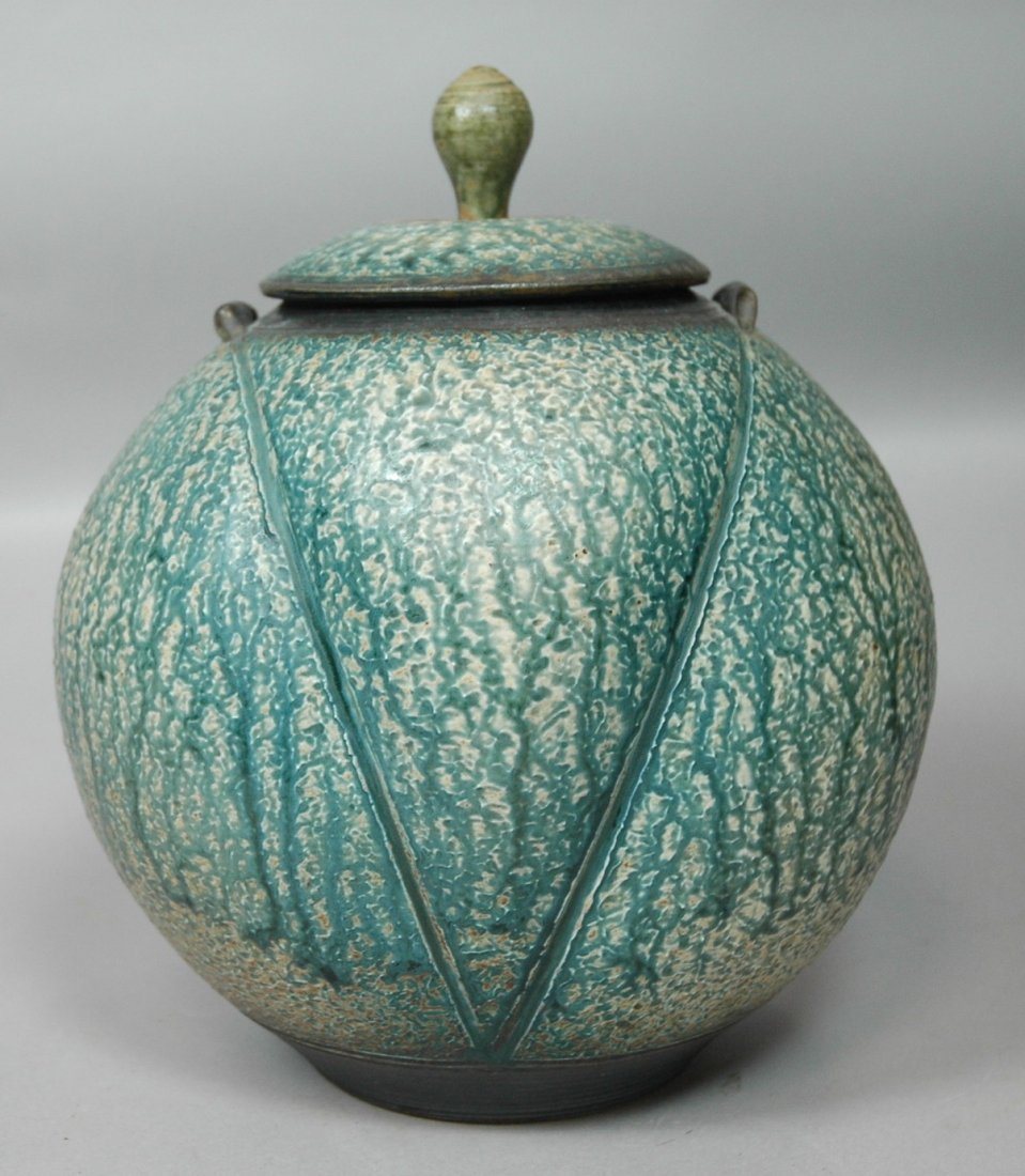 Clarkson Studio Pottery Covered Vessel Pot. Slip