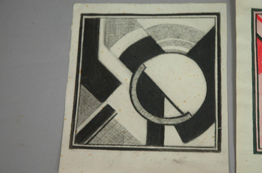 3pcs Wiener Werkstatte Drawings. One with colors.