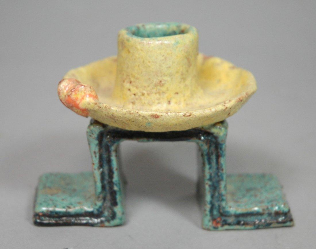 Wiener Werkstatte Pottery Candlestick. Glazed Red