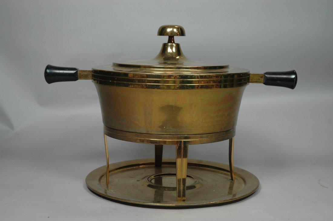 Tommie Parzinger Brass Fondue Pot on Stand. Wood