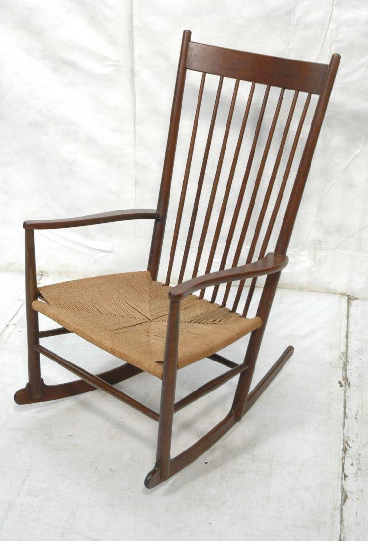 Danish Modern Rocker Rocking Chair. Woven Rush Se