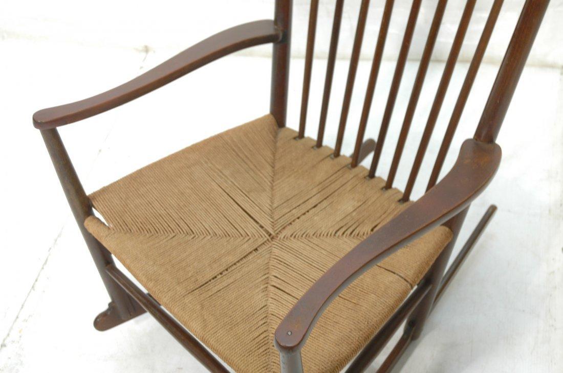 Danish Modern Rocker Rocking Chair. Woven Rush Se - 2