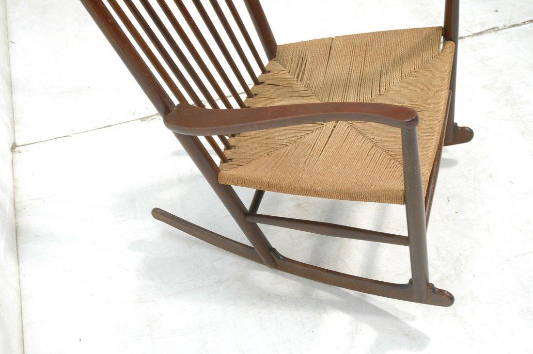 Danish Modern Rocker Rocking Chair. Woven Rush Se - 3