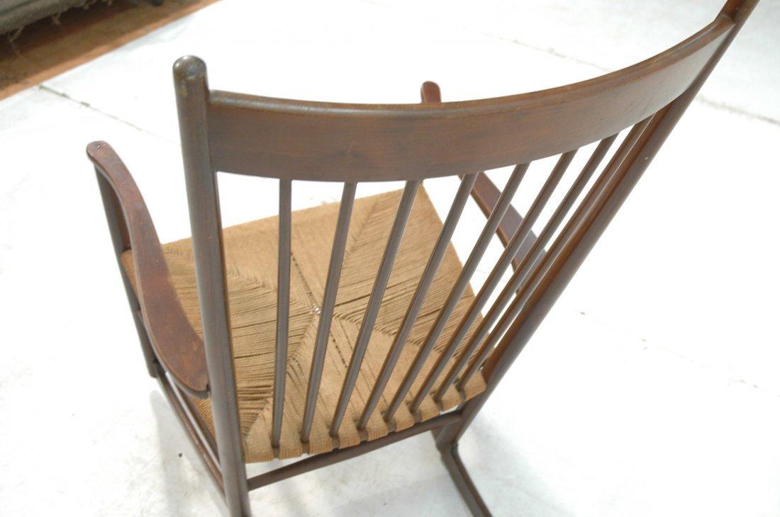 Danish Modern Rocker Rocking Chair. Woven Rush Se - 5