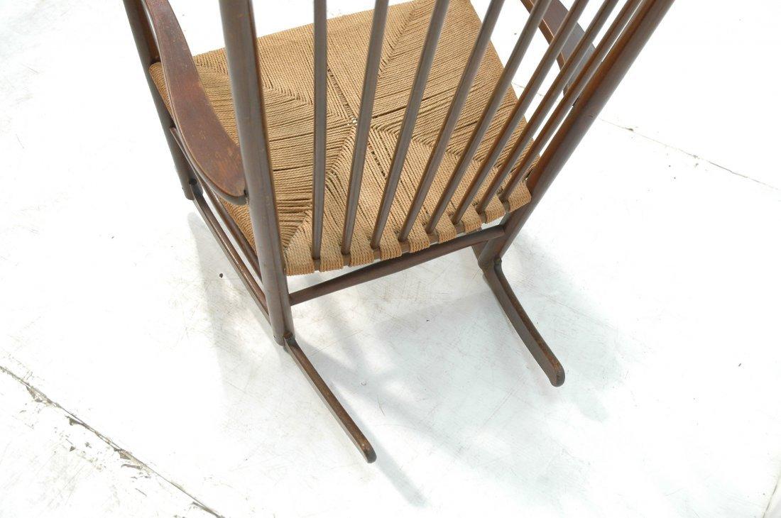 Danish Modern Rocker Rocking Chair. Woven Rush Se - 6