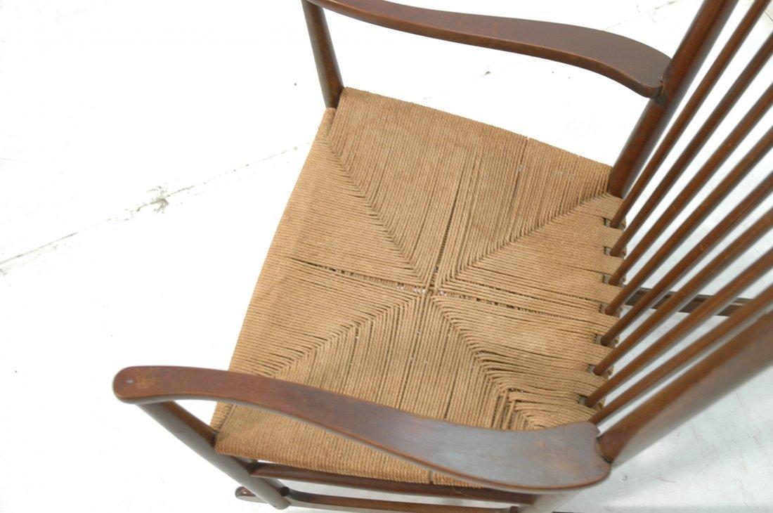 Danish Modern Rocker Rocking Chair. Woven Rush Se - 7