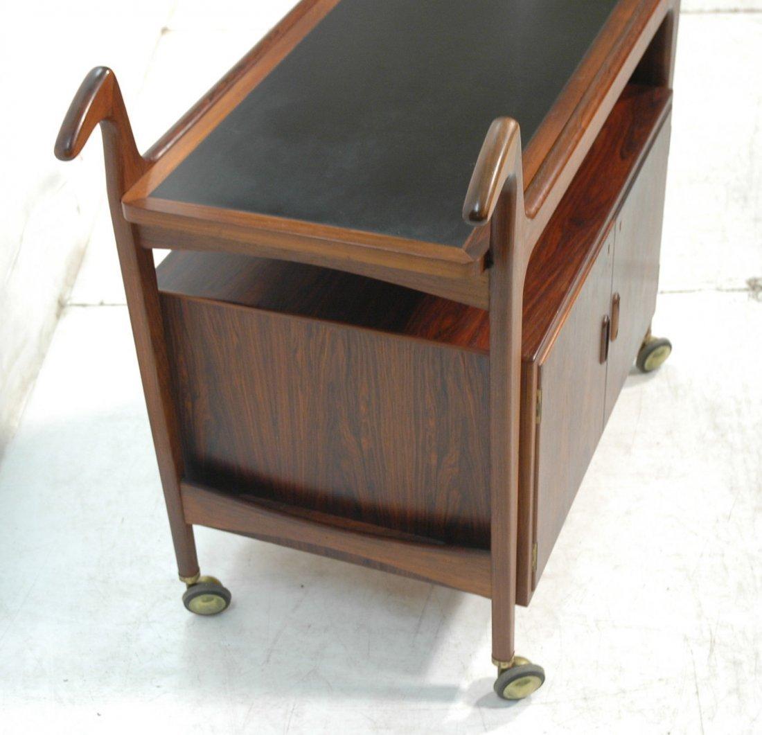 Falster Rosewood Danish Modern Rolling Bar Cart. - 2