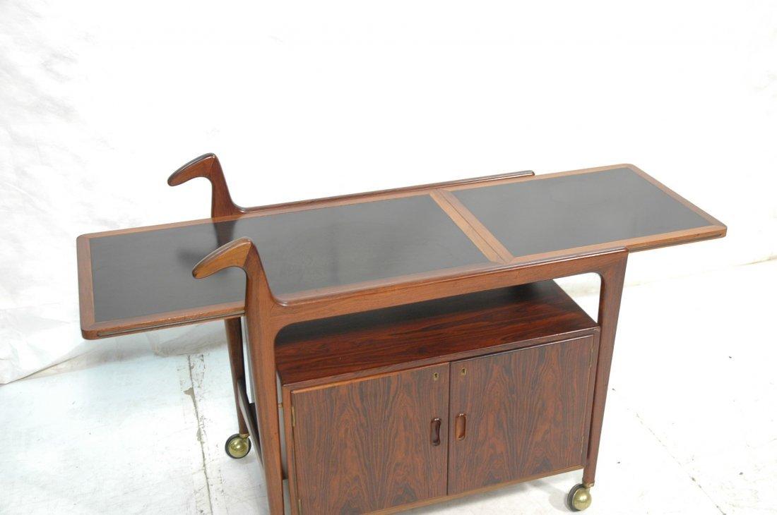 Falster Rosewood Danish Modern Rolling Bar Cart. - 6