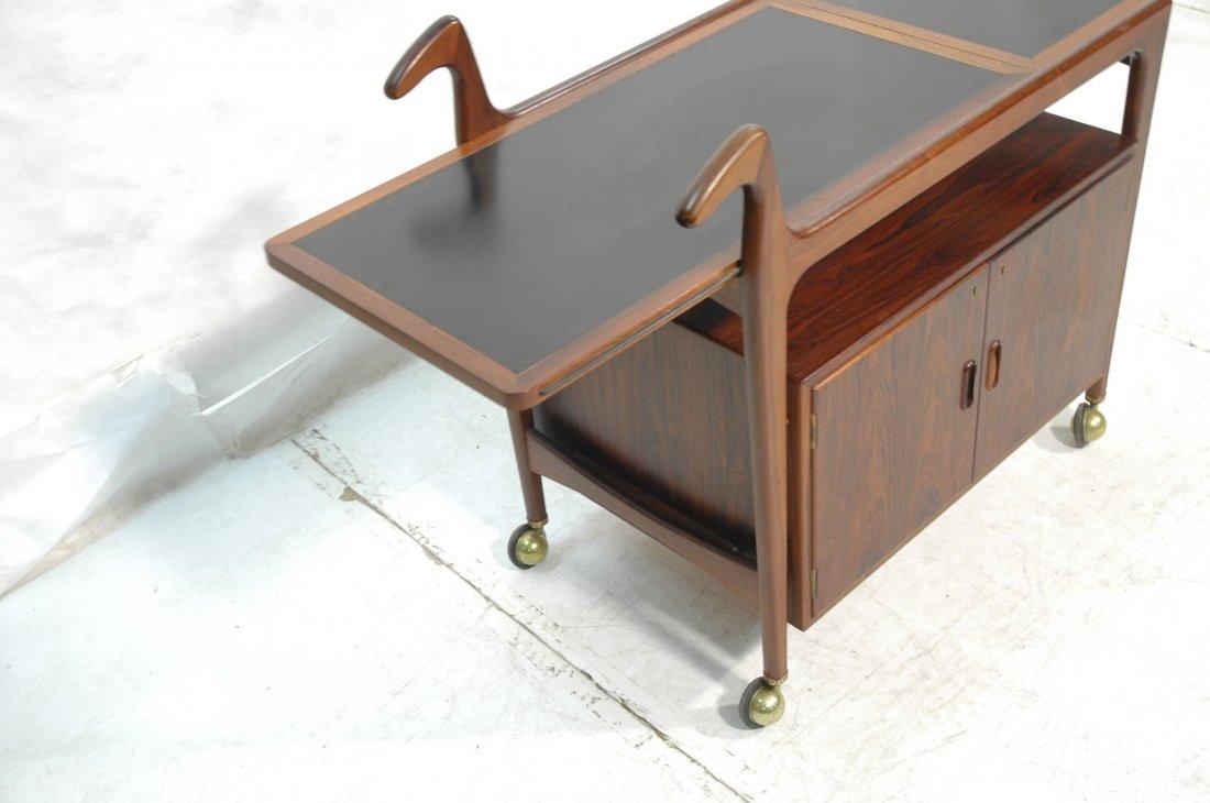 Falster Rosewood Danish Modern Rolling Bar Cart. - 7