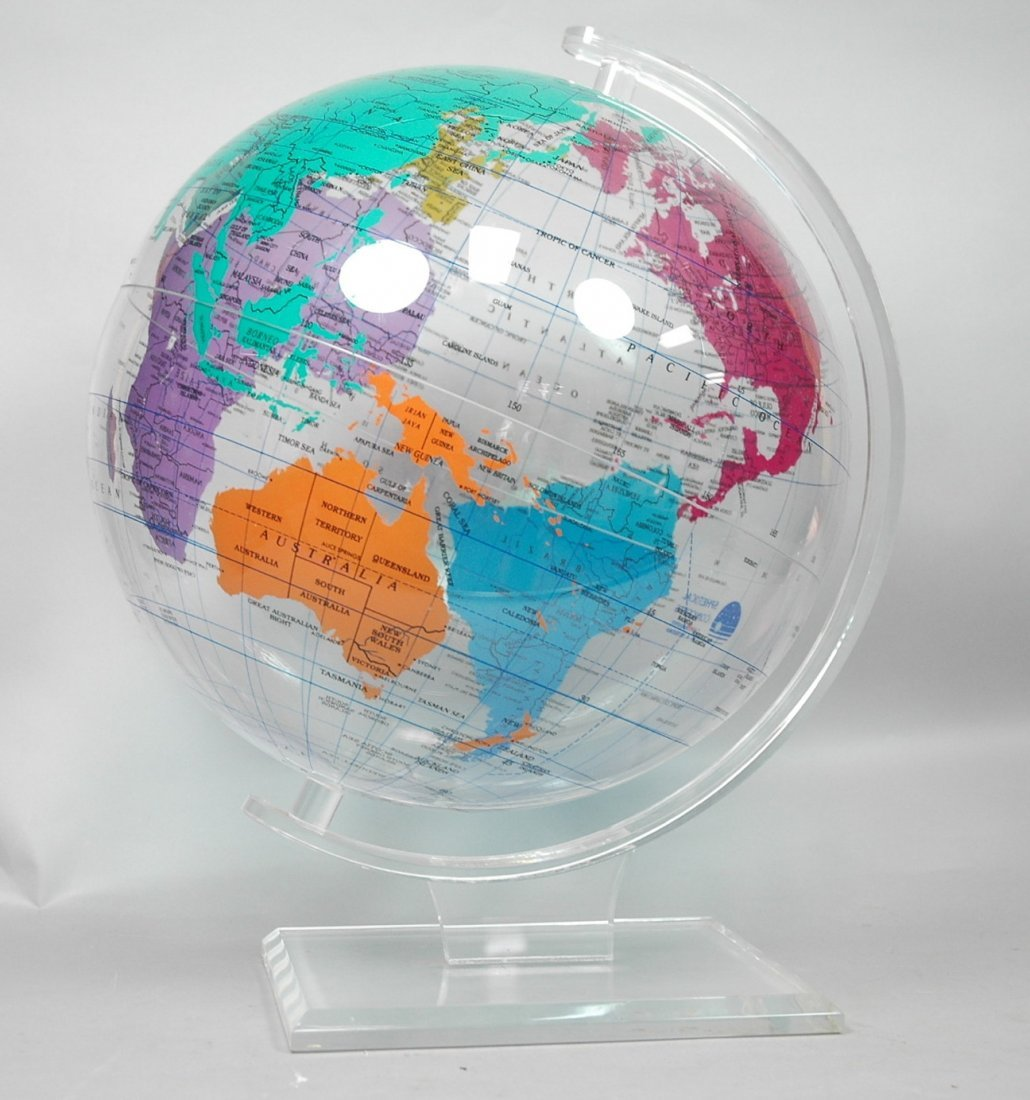 Spherical Concepts Lucite Acrylic World Globe On