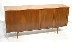 American Modern Walnut Credenza Cabinet. Bi-fold