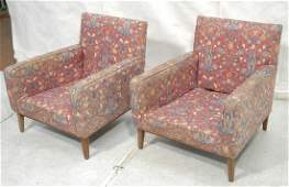 Pr PAUL McCOBB style Arm Lounge Chairs Upholster