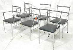 Set 6 Italian Gio Ponti style Arm Dining Chairs.