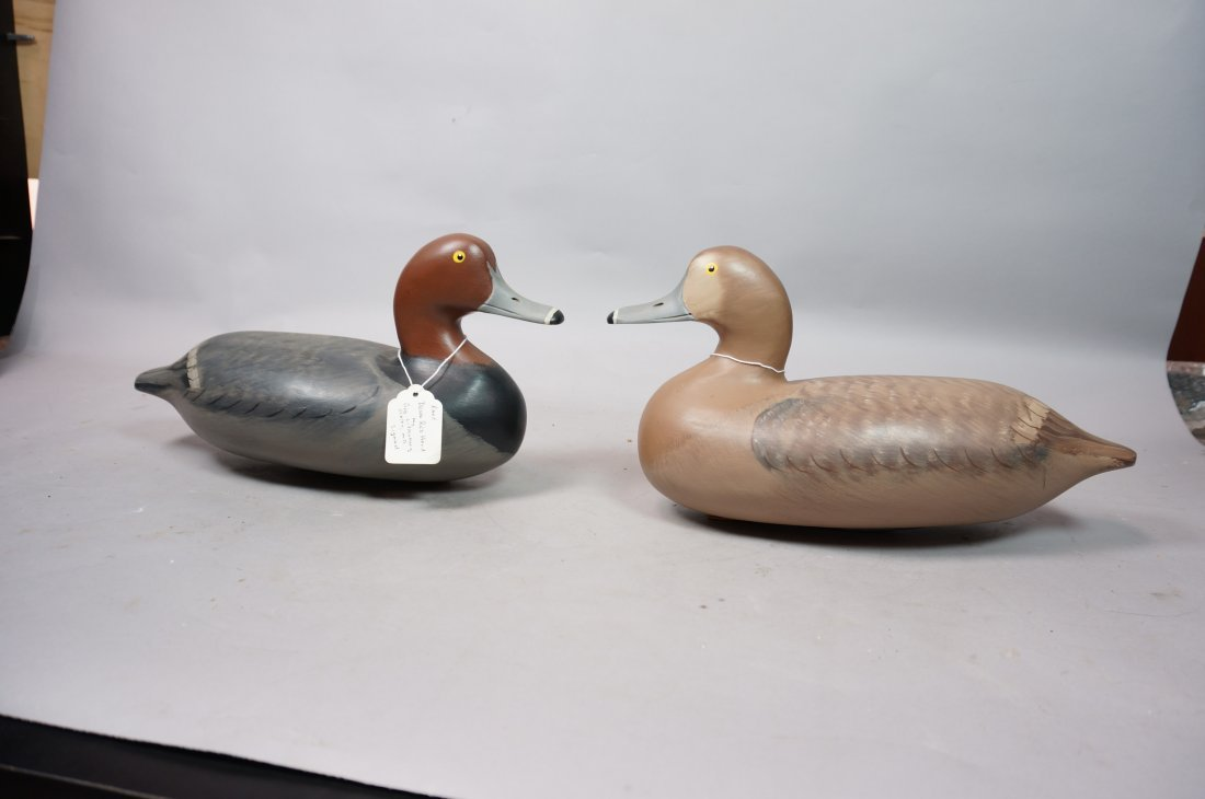 Two Carved Wood Duck Decoys. ROBERT Litzenberg. 1