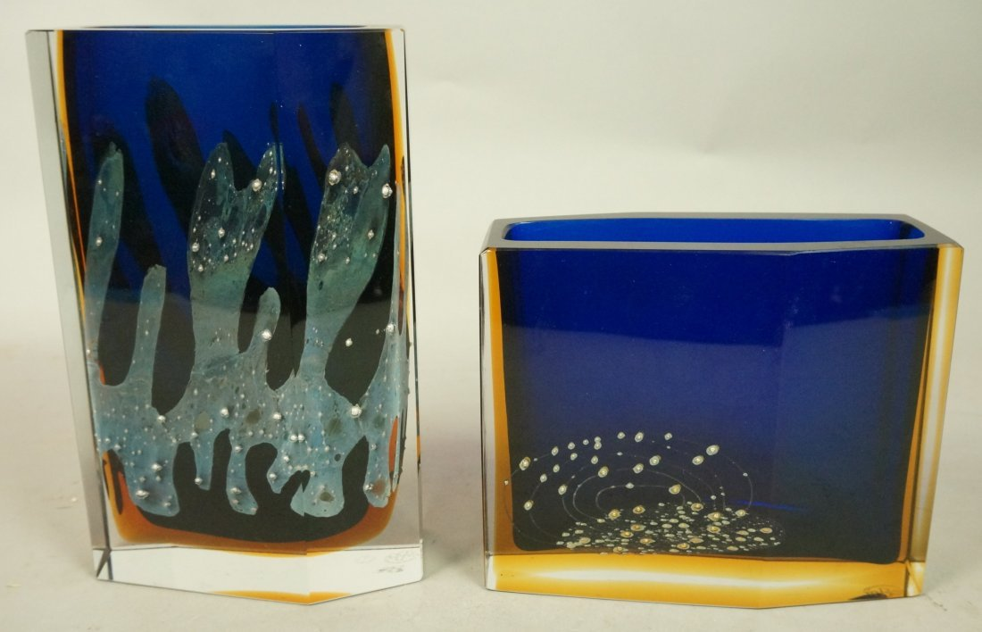 Two Czechoslovakian Art Glass Vase. EXBOR. Facete