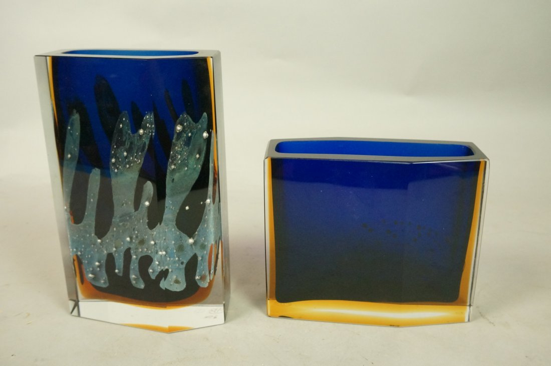 Two Czechoslovakian Art Glass Vase. EXBOR. Facete - 6