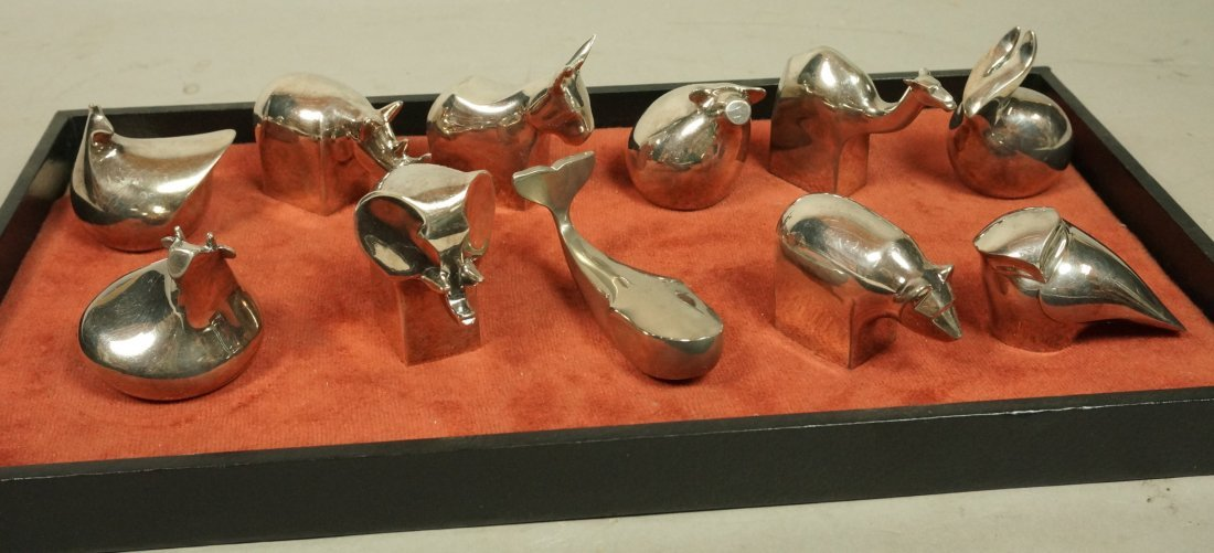 Lot 11 DANSK Silver Plate Animals Paperweights.