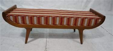 Decorator Upholstered Bench. American Modern Waln