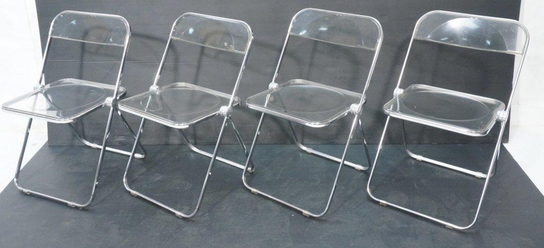 Set 4 CASTELLI Clear Acrylic Folding Chairs Ital