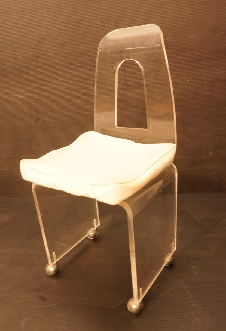 Rolling Lucite Vanity Chair. Swivel Seat with Whi