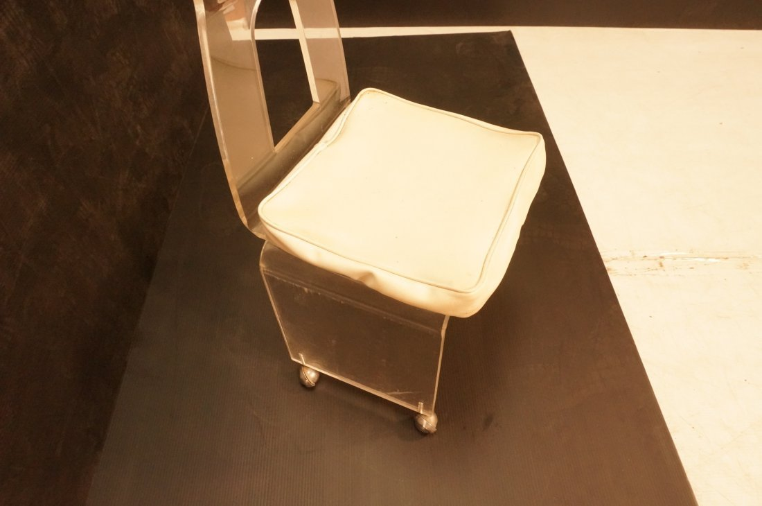 Rolling Lucite Vanity Chair. Swivel Seat with Whi - 2