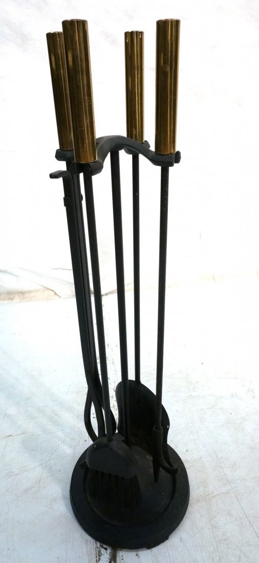 Set Modernist Fireplace Tools. Black Iron with Br