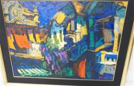 Large Oil Painting Abstract City Street Scene S